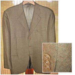 CANALI Size 44 R Brown & Beige Tweed Blazer